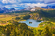 Rock Isle Lake in Alpine region of the Canadian Rocky Mountains. Sunshine Meadows. <br /> British Columbia<br /> Canada<br />Adjacent Banff National Park<br />British Columbia<br />Canada