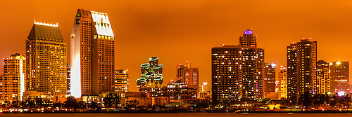 panoramic picture of san diego skyline at night with orange tone san diego is a
