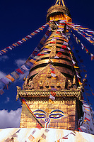 Eyes of Buddha, Swayambhunath (buddhist stupa), on a hill above Kathmandu, Nepal