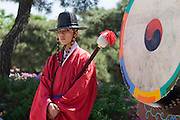 Gyeongbokgung Palace. Changing of the guard ceremony. Traditional drum.