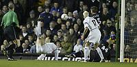 Photo. Aidan Ellis, Digitalsport.<br /> Leeds United v Leicester City.<br /> FA Barclaycard Premiership.<br /> 05/04/2004.<br /> Leeds Mark Viduka scores the second with an overhead kick