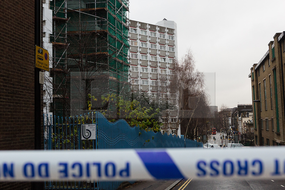 © Licensed to London News Pictures. 03/01/2015. London, UK. A general view of Stelfox House flats and the surrounding area. Police have launched a murder investigation after two men were found dead following a suspicious house fire in Penton Rise in Islington, north London last night. Photo credit : Vickie Flores/LNP