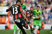 AFC Bournemouth's striker Callum Wilson strikes the ball during the Barclays Premier League match between Bournemouth and Sunderland at the Goldsands Stadium, Bournemouth, England on 19 September 2015. Photo by Mark Davies.