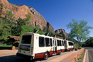 Free tourist shuttle bus in Zion Canyon, Zion National Park, UTAH
