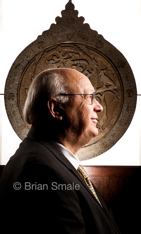 Nicholas Kaiser, Director and Chairman of Saturna Capital. Photographed in Saturna's offices in Bellingham, WA for Forbes Magazine, 2009-12-21.  Background is an Egyptian Astrolabe.