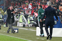 Northern Ireland manager Michael O'Neill (left) argues with Switzerland manager Vladimir Petkovic (right) during the FIFA World Cup Qualifying second leg match at St Jakob Park, Basel.