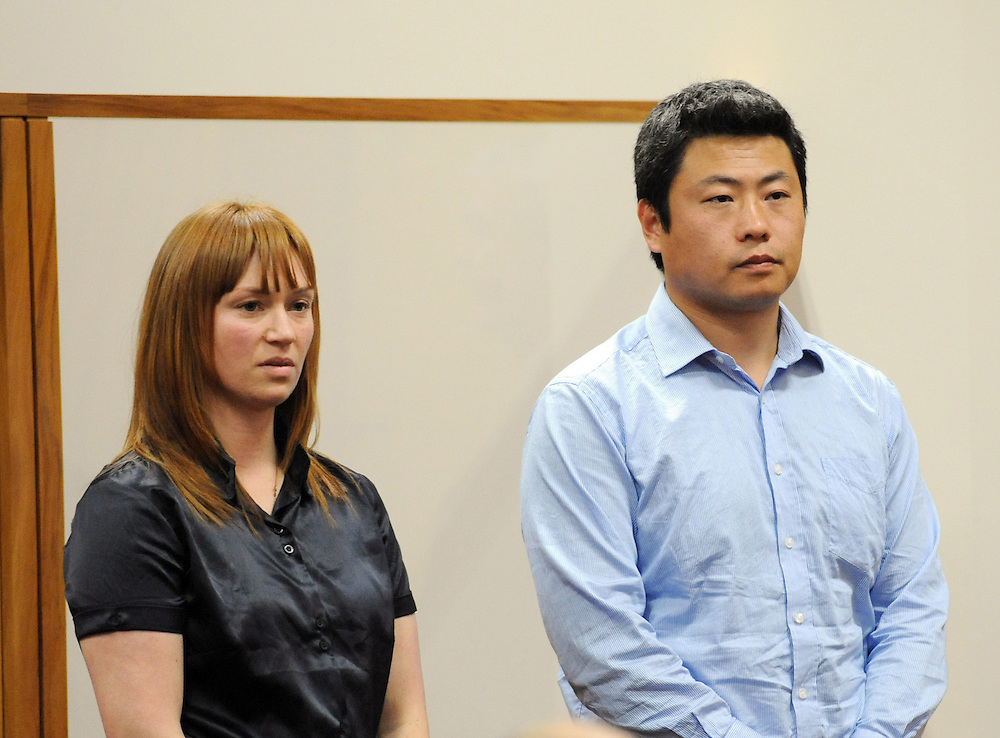 Kara Hurring, left, recieved a sentence of 9 months home detention and Leo Gao 4 years, 7 months imprisonment when they appeared for sentencing on money laundering charges in the High Court, Rotorua, New Zealand, Friday, August 24, 2012. Credit:SNPA / Ross Setford
