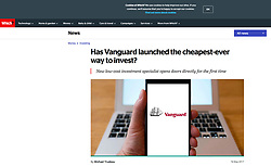 Which magazine; smart phone showing logo of Vanguard investments company