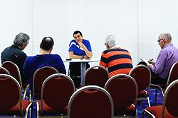 05-01-2016 TUR: European Olympic Qualification Tournament Persmoment, Ankara <br /> In het spelershotel was er een moment voor de pers / Coach Giovanni Guidetti geeft uitleg over de wedstrijd van gisteren