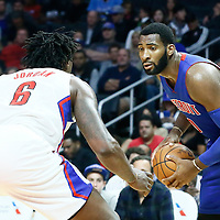 07 November 2016: Los Angeles Clippers center DeAndre Jordan (6) defends on Detroit Pistons center Andre Drummond (0) during the LA Clippers 114-82 victory over the Detroit Pistons, at the Staples Center, Los Angeles, California, USA.