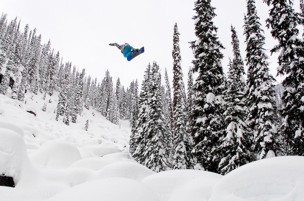 Professional snowboarder Mark Landvik in the Kootenay Mountains of British Columbia, Canada.