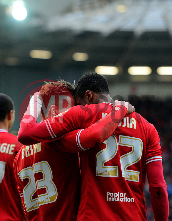 Joe Bryan of Bristol City celebrates with Jonathan Kodjia of Bristol City  - Mandatory byline: Joe Meredith/JMP - 19/03/2016 - FOOTBALL - Ashton Gate - Bristol, England - Bristol City v Bolton Wanderers - Sky Bet Championship
