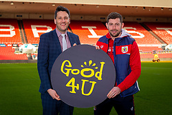 Good 4 U's Karol Butler and Bristol City Frankie Fielding - Ryan Hiscott/JMP - 09/01/2019 - COMMERCIAL - Ashton Gate - Bristol, England - Bristol Sport Announce Sponsor Partnership with Good 4 U