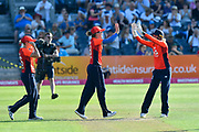 Wicket - Natalie Sciver of England celebrates taking the catch to diamiss Sophie Devine of New Zealand off the bowling of Anya Shrubsole of England to finish the New Zealand innings during the International T20 match between England Women Cricket and New Zealand at the Bristol County Ground, Bristol, United Kingdom on 28 June 2018. Picture by Graham Hunt.