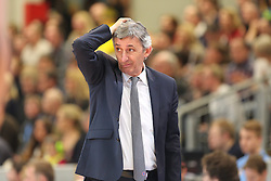 02.03.2014, ENERVIE Arena, Hagen, GER, Beko Basketball BL, Phoenix Hagen vs FC Bayern Muenchen, 24. Runde, im Bild Coach / Trainer Svetislav Pesic (FC Bayern Muenchen) kratzt sich nachdenklich am Hinterkopf // during the Beko Basketball Bundes league 24th round match between Phoenix Hagen and FC Bayern Munich at the ENERVIE Arena in Hagen, Germany on 2014/03/02. EXPA Pictures © 2014, PhotoCredit: EXPA/ Eibner-Pressefoto/ Schueler<br /> <br /> *****ATTENTION - OUT of GER*****