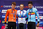 Podium Men Road Race 230,4 km, Mathieu Van der Poel (Netherlands) silver medal, Matteo Trentin (Italy ITA) gold medal, Wout Van Aert (Belgium BEL) bronze medal, during the Cycling European Championships Glasgow 2018, in Glasgow City Centre and metropolitan areas, Great Britain, Day 11, on August 12, 2018 - Photo Luca Bettini / BettiniPhoto / ProSportsImages / DPPI - Belgium out, Spain out, Italy out, Netherlands out -