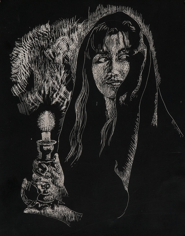 GIRL WITH CANDLE, scratchboard 1993