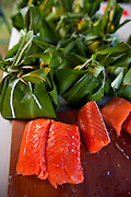Making salmon laulau for luau, Hawaii