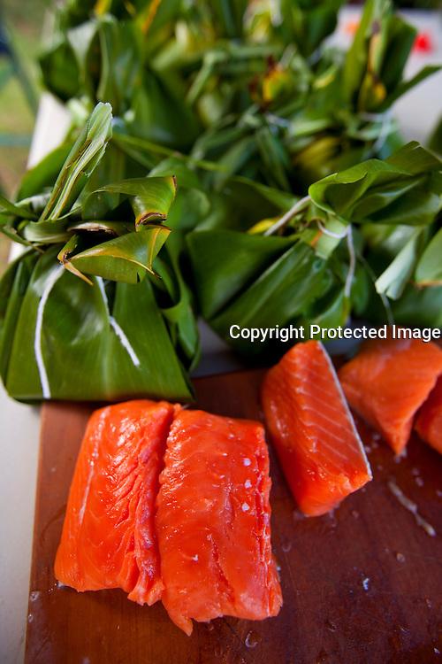 Making salmon laulau for luau, Hawaii
