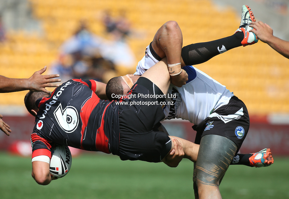 NZ Warriors player Api Pewhairangi is dumped during the NSW Cup Match  between the NZ Warriors and the Wentworthville Magpies played at Mt Smart Stadium in South Auckland on the 21st March 2015. <br /> <br /> Copyright Photo; Peter Meecham/ www.photosport.co.nz