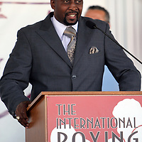 "Inductee Thomas ""Hitman"" Hearns addresses the crowd during the 23rd Annual induction weekend opening ceremony at the International Boxing Hall of Fame on Thursday, June 7, 2012 in Canastota, NY. (AP Photo/Alex Menendez)"