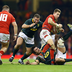 CARDIFF, WALES - NOVEMBER 24: Eben Etzebeth of South Africa making a tackle on Liam Williams of Wales during the Castle Lager Outgoing Tour match between Wales and South Africa at Principality Stadium on November 24, 2018 in Cardiff, Wales. (Photo by Steve Haag/Gallo Images)