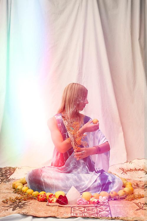 Shamanic priestess in the light.