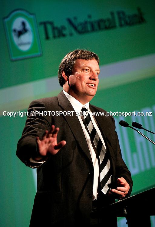 Retiring NZ Cricket CEO Martin Snedden speaks  during the NZ Cricket Awards at Langham Hotel, Auckland, New Zealand on Wednesday 16 May 2007. Photo: Hagen Hopkins/PHOTOSPORT<br /><br /><br /><br />160507
