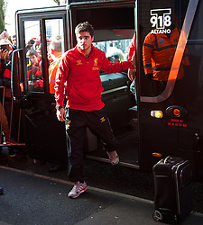 WEST BROMWICH, ENGLAND - Sunday, February 2, 2014: Liverpool's Joao Carlos Teixeira steps off the team coach as the squad arrive at The Hawthorns ahead of the Premiership match against West Bromwich Albion at the Hawthorns. (Pic by David Rawcliffe/Propaganda)