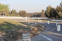 Track construction. <br /> Autodromo Hermanos Rodriguez Circuit Visit, Mexico City, Mexico. Thursday 22nd January 2015.