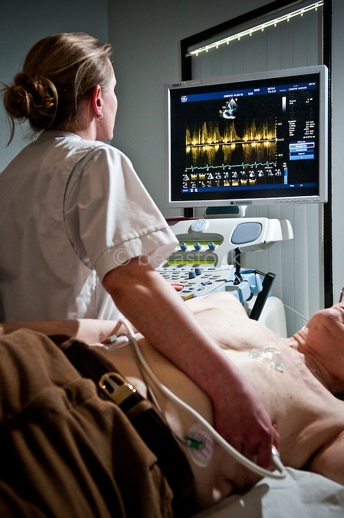 performing an cardiac echography.