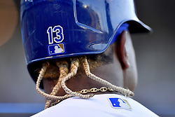 July 15, 2017 - Kansas City, MO, USA - Braids stick out of the batting helmet of Kansas City Royals' Salvador Perez during Saturday's baseball game against the Texas Rangers July 15, 2017 at Kauffman Stadium in Kansas City, Mo. The Rangers won, 1-0. (Credit Image: © John Sleezer/TNS via ZUMA Wire)