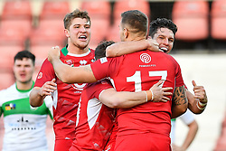 11th November 2018 , Racecourse Ground,  Wrexham, Wales ;  Rugby League World Cup Qualifier,Wales v Ireland ; Gavin Bennion of Wales celebrates his try with team mates<br /> <br /> <br /> Credit:   Craig Thomas/Replay Images