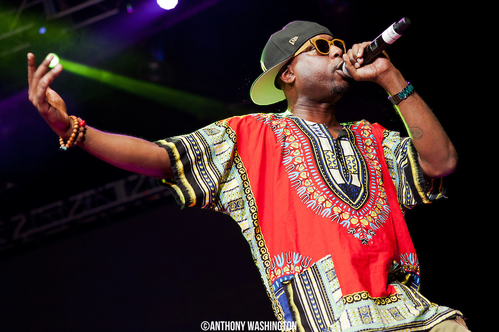 Talib Kweli performs during the Summer Spirit Festival at Merriweather Post Pavilion in Columbia, MD on Saturday, August 2, 2014.