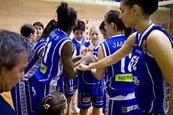 Team of Celje at finals match of Slovenian 1st Women league between KK Hit Kranjska Gora and ZKK Merkur Celje, on May 14, 2009, in Arena Vitranc, Kranjska Gora, Slovenia. Merkur Celje won the third time and became Slovenian National Champion. (Photo by Vid Ponikvar / Sportida)