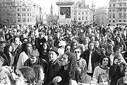 Crowd of ravers, 1st Criminal Justice March, Trafalgar Square, London, UK, 1st of May 1994.