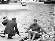 Henley Royal Regatta, 1986, Henley-on-Thames, ENGLAND, Diamond Challege Sculls, Steve REDGRAVE and coach Mike SPRACKLEN, .Photo  Peter Spurrier/Intersport Images.
