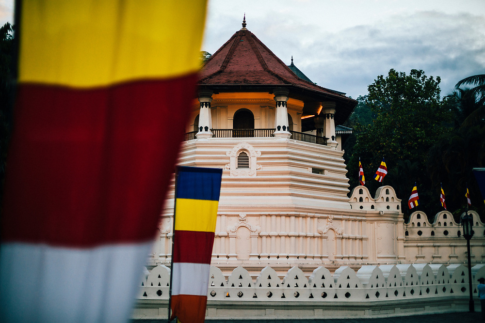 Kandy, Sri Lanka -- February 1, 2018: Early morning at the Temple of the Tooth.