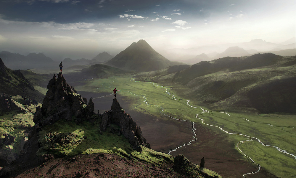 View over the highlands in Iceland between thorsmork and landmannalaugar.