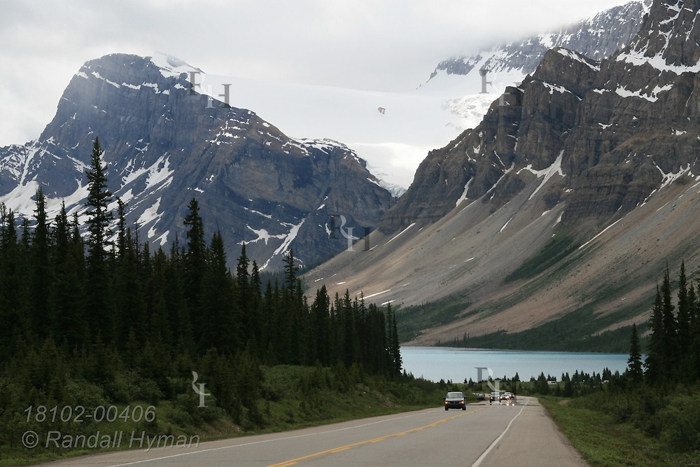 Icefields Parkway runs past Bow Lake and Bow Mountain in Banff National Park; Alberta, Canada.