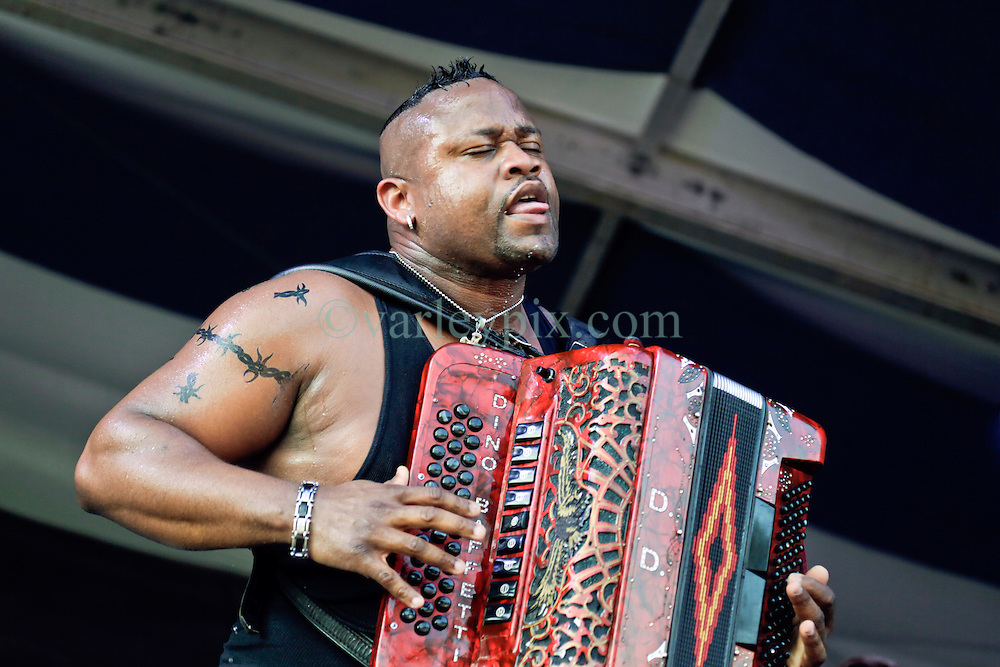 02 May 2015. New Orleans, Louisiana.<br /> The New Orleans Jazz and Heritage Festival. <br /> Dwayne Dopsie and his Zydeco Hellraisers wow the Fais Do-Do stage.<br /> Photo; Charlie Varley/varleypix.com