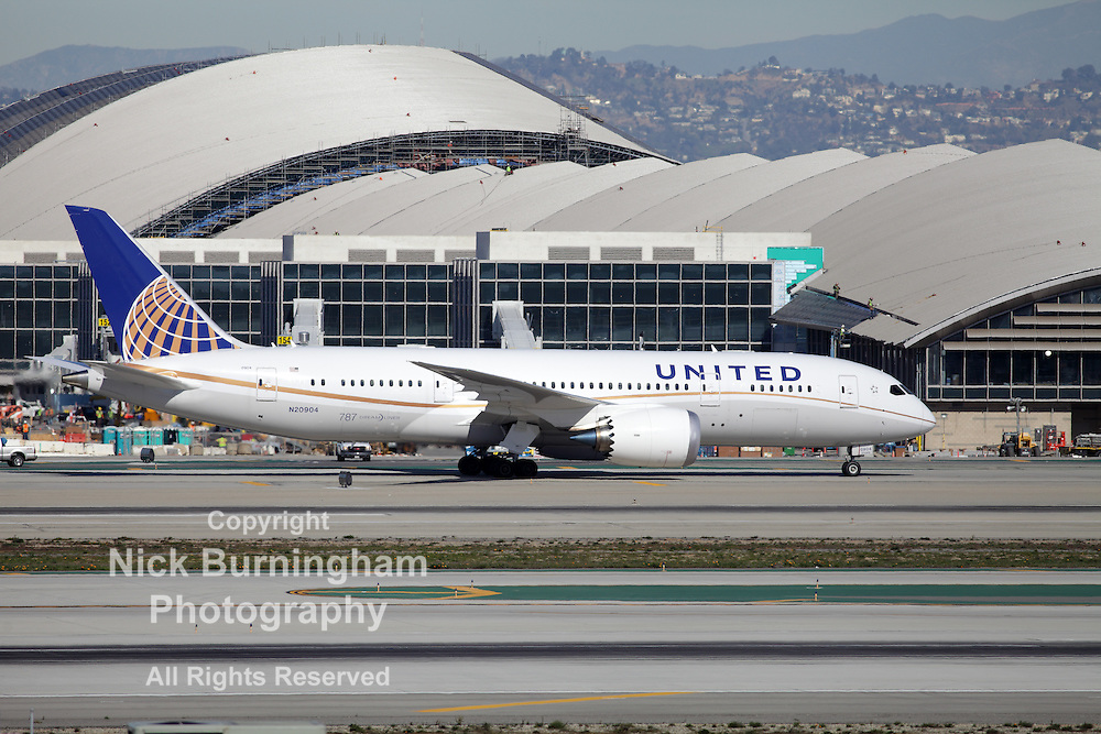 LOS ANGELES, CALIFORNIA, USA - JANUARY 15, 2013 - United Airlines Boeing 787-8 Dreamliner taxis at Los Angeles Airport on January 15, 2013. The plane is the first to be built of composite materials.