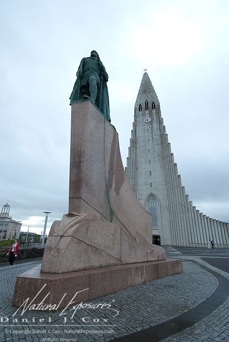 Statue of Leifer Eiricsson, son of discover of Vinland, outside the Hallgrimskirkja Church Reykjavik, Iceland.