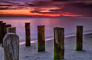 Pilings, remnants of the Old Naples Pier at Sunset