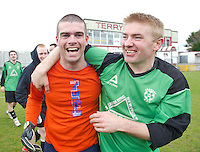 Oranbay's Damien Glynn the hero congratulated by Tony Creane as they celebrate in Terryland. Photo:Andrew Downes