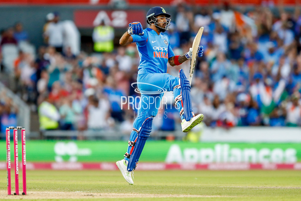 India T20 all rounder KL Lokesh Rahul celebrates his 100 Century during the International T20 match between England and India at Old Trafford, Manchester, England on 3 July 2018. Picture by Simon Davies.