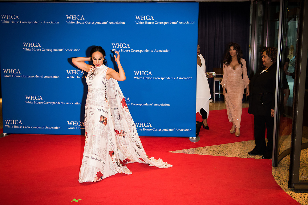 Dr. Nina Radcliff, on-air doctor for FOX News, walks up to have her picture taken as she arrives on the red carpet at the White House Correspondents' Dinner in Washington, D.C. on April 29, 2017. CREDIT: Mark Kauzlarich for CNN