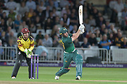 Dan Christian launches during the NatWest T20 Blast Quarter Final match between Notts Outlaws and Somerset County Cricket Club at Trent Bridge, West Bridgford, United Kingdom on 24 August 2017. Photo by Simon Trafford.