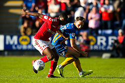 Alex Rodman of Shrewsbury Town challenges Anfernee Dijksteel of Charlton Athletic - Mandatory by-line: Robbie Stephenson/JMP - 13/05/2018 - FOOTBALL - Montgomery Waters Meadow - Shrewsbury, England - Shrewsbury Town v Charlton Athletic - Sky Bet League One Play-Off Semi Final