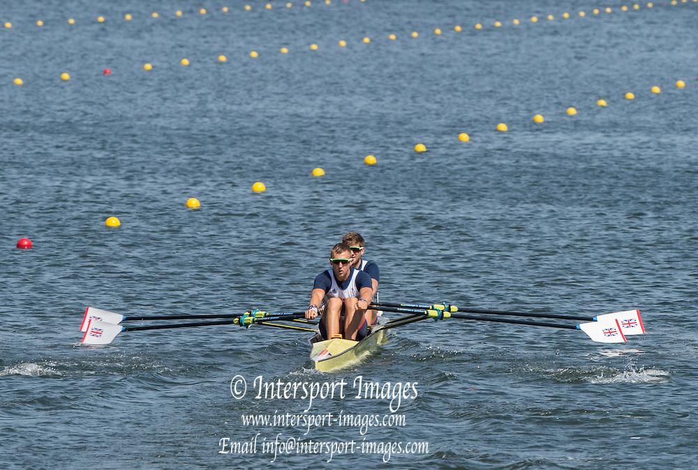 Rio de Janeiro. BRAZIL.   GBR M2X Bow. Jonny WALTON and John COLLINS in their heat  at the 2016 Olympic Rowing Regatta. Lagoa Stadium,<br /> Copacabana,  &ldquo;Olympic Summer Games&rdquo;<br /> Rodrigo de Freitas Lagoon, Lagoa.   Friday  05/08/2016 <br /> <br /> [Mandatory Credit; Peter SPURRIER/Intersport Images][Mandatory Credit; Peter SPURRIER/Intersport Images]